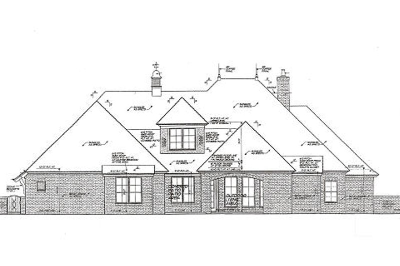 European Exterior - Rear Elevation Plan #310-980 - Houseplans.com