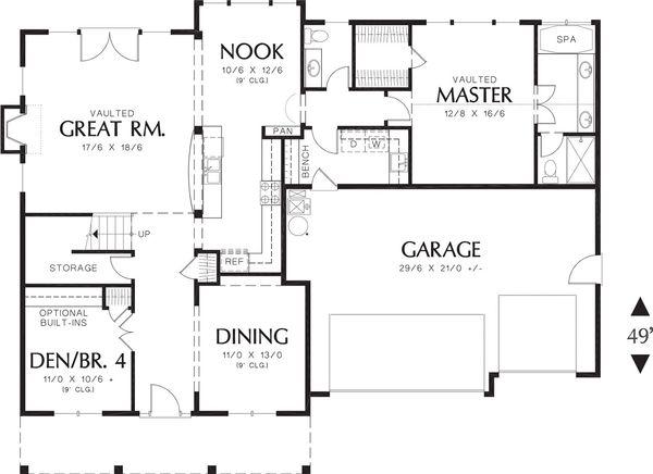 Craftsman Floor Plan - Main Floor Plan Plan #48-379