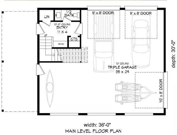 Contemporary Floor Plan - Main Floor Plan Plan #932-299