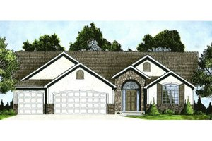Ranch Exterior - Front Elevation Plan #58-197