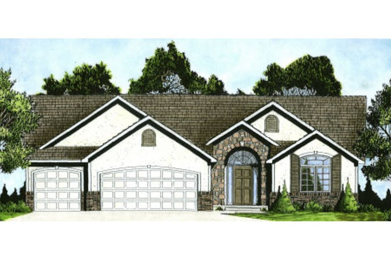 Ranch Style House Plan - 3 Beds 2 Baths 1551 Sq/Ft Plan #58-197 Exterior - Front Elevation
