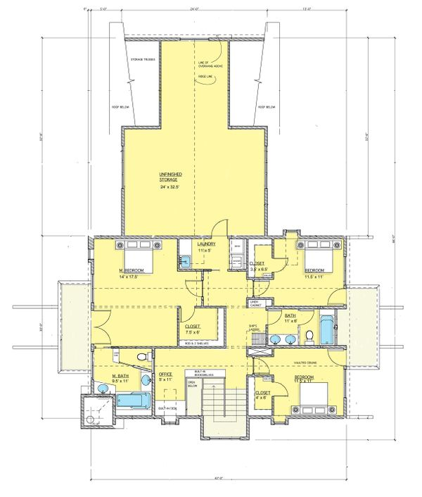 Contemporary Floor Plan - Upper Floor Plan #573-2