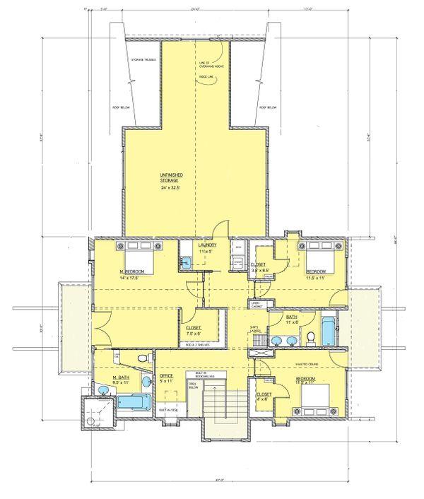 Contemporary Floor Plan - Upper Floor Plan #573-2