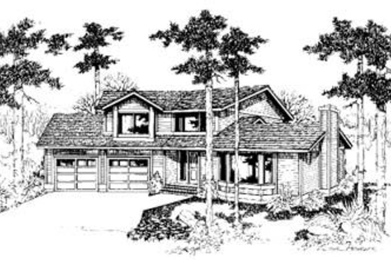 Traditional Style House Plan - 3 Beds 2.5 Baths 1695 Sq/Ft Plan #60-306 Exterior - Front Elevation