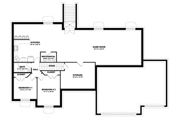 Traditional Floor Plan - Lower Floor Plan #1060-100