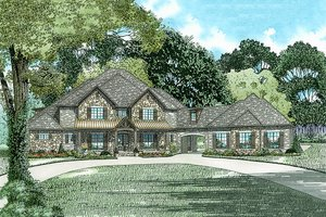 European Exterior - Front Elevation Plan #17-2538