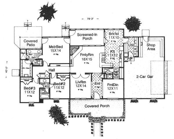Craftsman Floor Plan - Main Floor Plan Plan #310-606