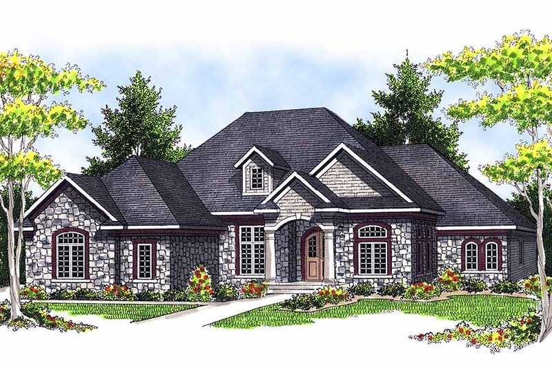 European Style House Plan - 3 Beds 2.5 Baths 2899 Sq/Ft Plan #70-634 Exterior - Front Elevation
