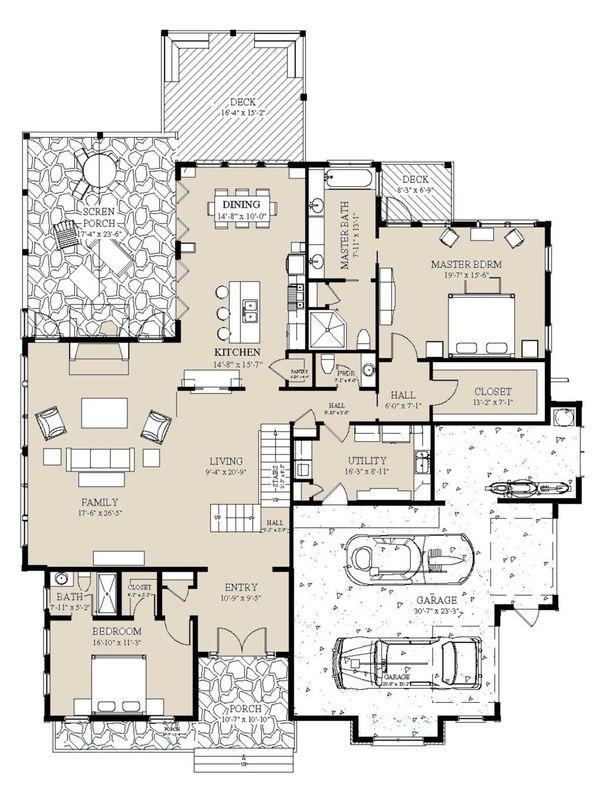 Craftsman Floor Plan - Main Floor Plan #921-3