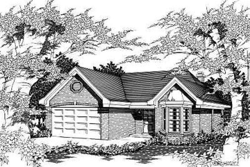 European Style House Plan - 3 Beds 2 Baths 1579 Sq/Ft Plan #329-190