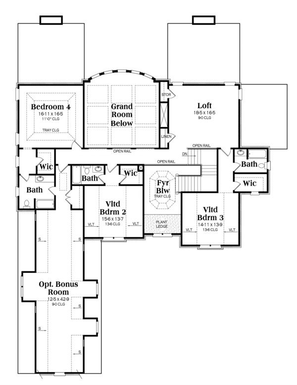 European Floor Plan - Upper Floor Plan Plan #419-240