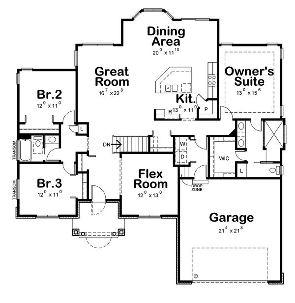 European Floor Plan - Main Floor Plan Plan #20-2194
