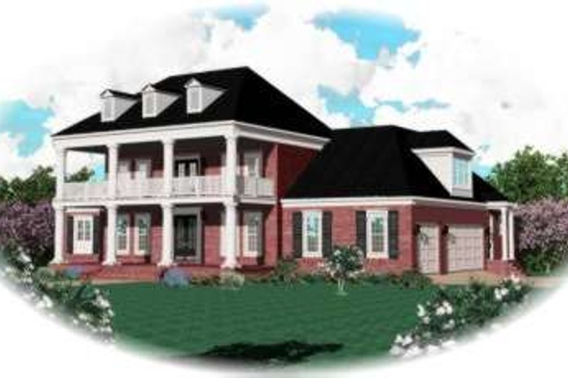 Southern Style House Plan - 4 Beds 4 Baths 4347 Sq/Ft Plan #81-1287 Exterior - Front Elevation