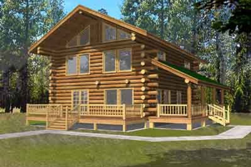 Log Exterior - Front Elevation Plan #117-484