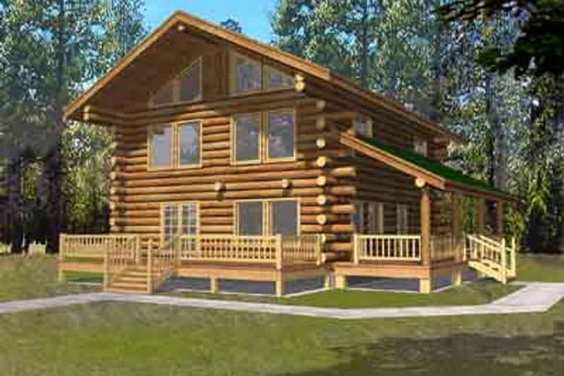 Log Exterior - Front Elevation Plan #117-484
