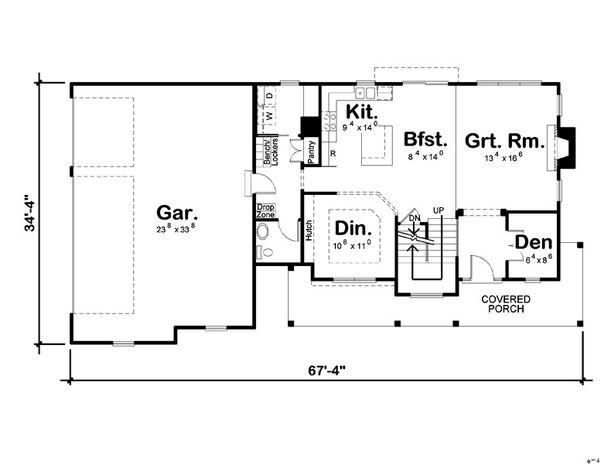 Traditional Floor Plan - Main Floor Plan Plan #455-1