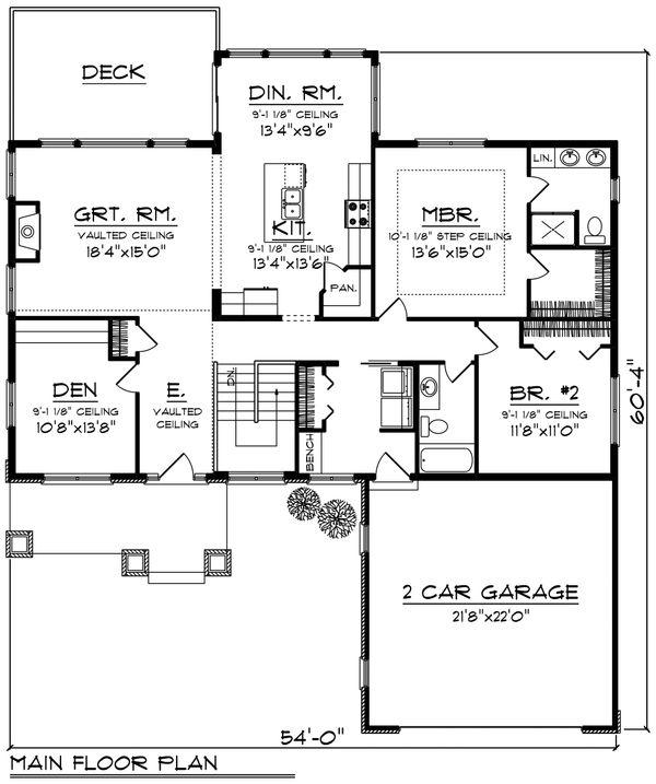 House Plan Design - Ranch Floor Plan - Main Floor Plan #70-1209