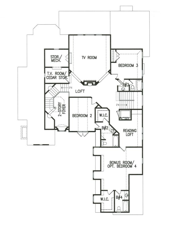 Architectural House Design - Traditional Floor Plan - Upper Floor Plan #54-410