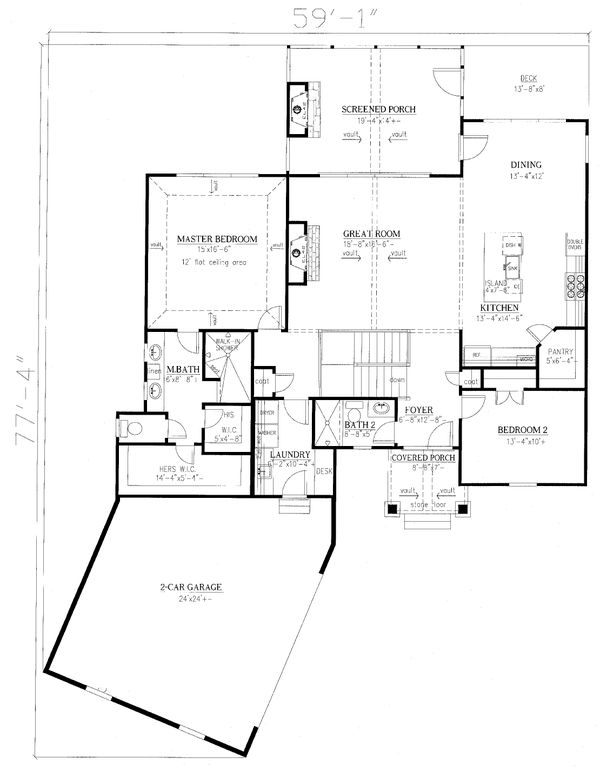 Craftsman Floor Plan - Main Floor Plan Plan #437-114