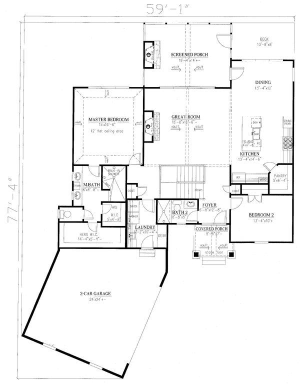 Home Plan - Craftsman Floor Plan - Main Floor Plan #437-114