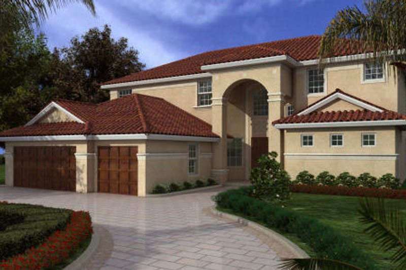 Mediterranean Style House Plan - 6 Beds 4 Baths 4047 Sq/Ft Plan #420-235 Exterior - Front Elevation