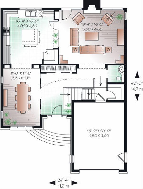 European Floor Plan - Main Floor Plan Plan #23-816