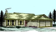 Ranch Style House Plan - 3 Beds 2 Baths 1286 Sq/Ft Plan #60-109 Exterior - Front Elevation