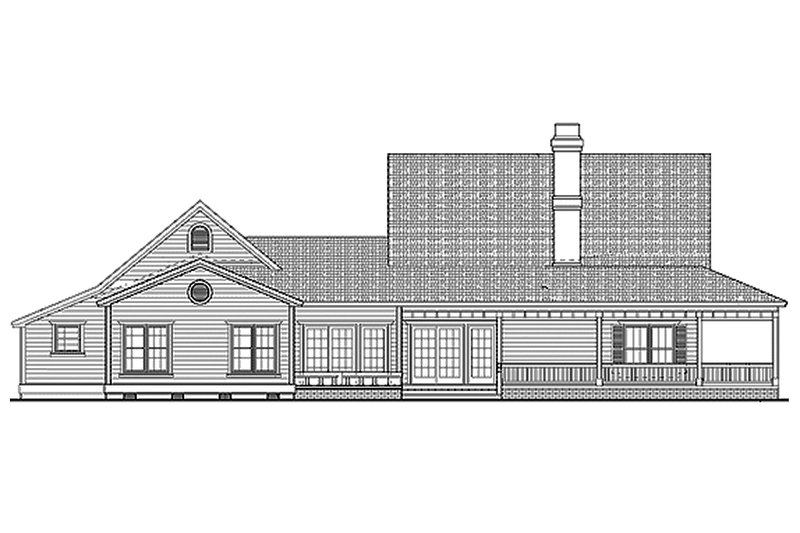 Farmhouse Exterior - Rear Elevation Plan #72-132 - Houseplans.com