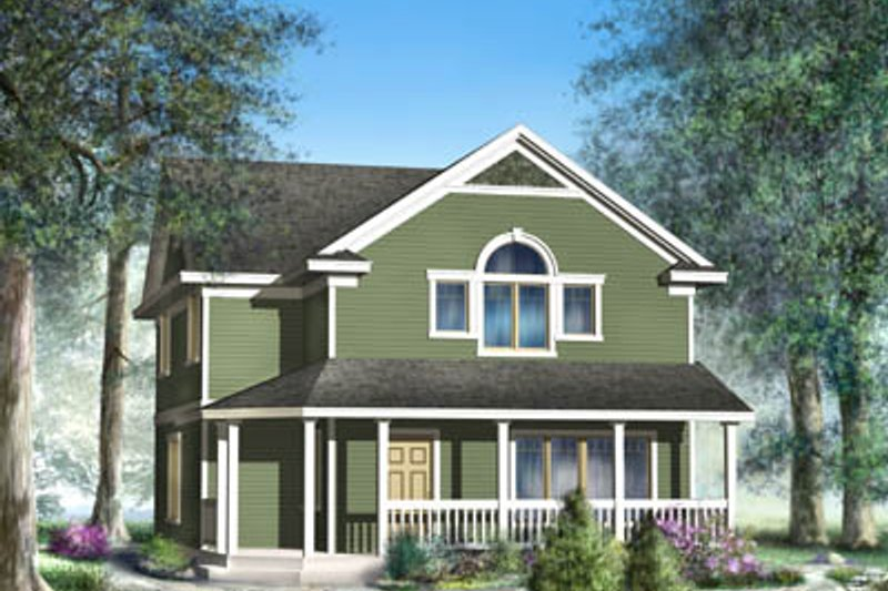 Farmhouse Style House Plan - 3 Beds 2.5 Baths 1647 Sq/Ft Plan #100-434 Exterior - Front Elevation