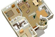 European Style House Plan - 2 Beds 1 Baths 1162 Sq/Ft Plan #25-4122 Photo
