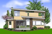 Contemporary Style House Plan - 3 Beds 2.5 Baths 2113 Sq/Ft Plan #48-692 Exterior - Rear Elevation