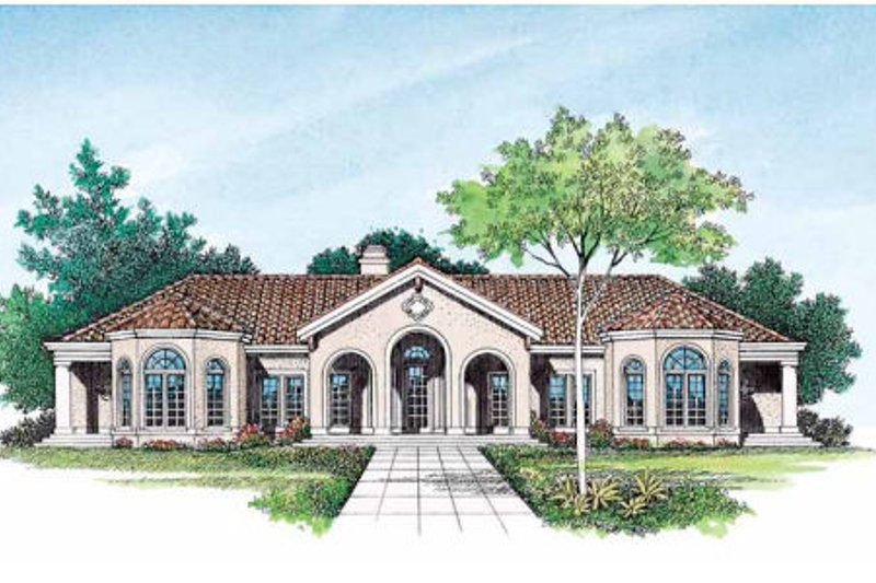 Mediterranean Exterior - Front Elevation Plan #72-161 - Houseplans.com