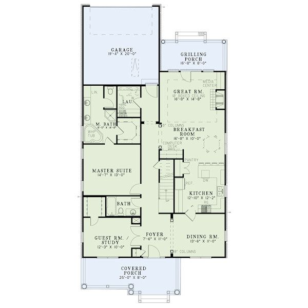 Bungalow Floor Plan - Main Floor Plan Plan #17-2408