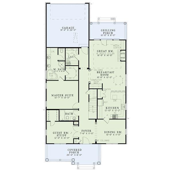 Home Plan - Bungalow Floor Plan - Main Floor Plan #17-2408