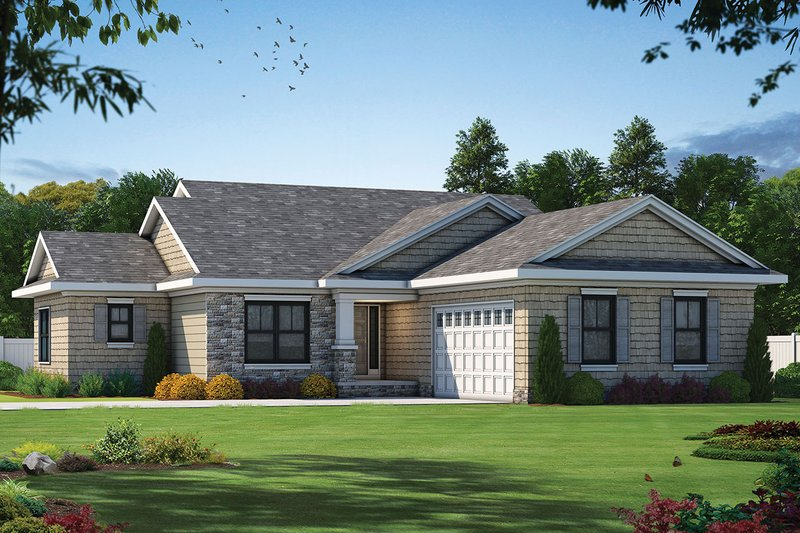 Craftsman Exterior - Front Elevation Plan #20-2334