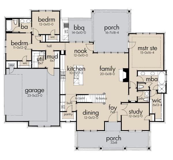 Farmhouse Floor Plan - Main Floor Plan Plan #120-256