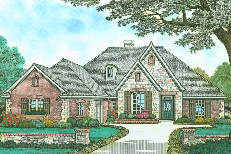 European Style House Plan - 4 Beds 3 Baths 2288 Sq/Ft Plan #310-525 Exterior - Front Elevation