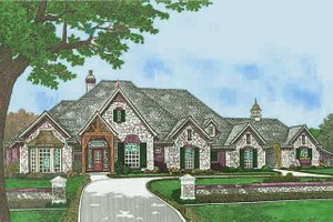 Dream House Plan - European Exterior - Front Elevation Plan #310-1305