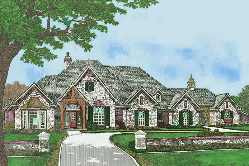 European Style House Plan - 3 Beds 2.5 Baths 3504 Sq/Ft Plan #310-1305 Exterior - Front Elevation
