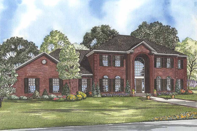 Colonial Style House Plan - 4 Beds 5 Baths 3558 Sq/Ft Plan #17-2090 Exterior - Front Elevation