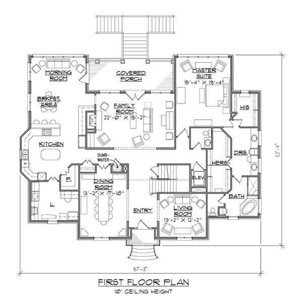 European Floor Plan - Main Floor Plan Plan #1054-82