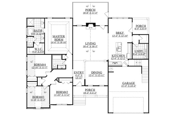 Ranch Floor Plan - Main Floor Plan Plan #1071-3