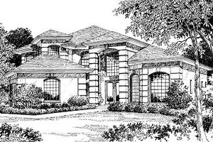 European Exterior - Front Elevation Plan #417-336