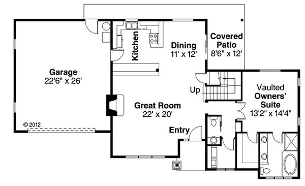 Craftsman Floor Plan - Main Floor Plan Plan #124-881