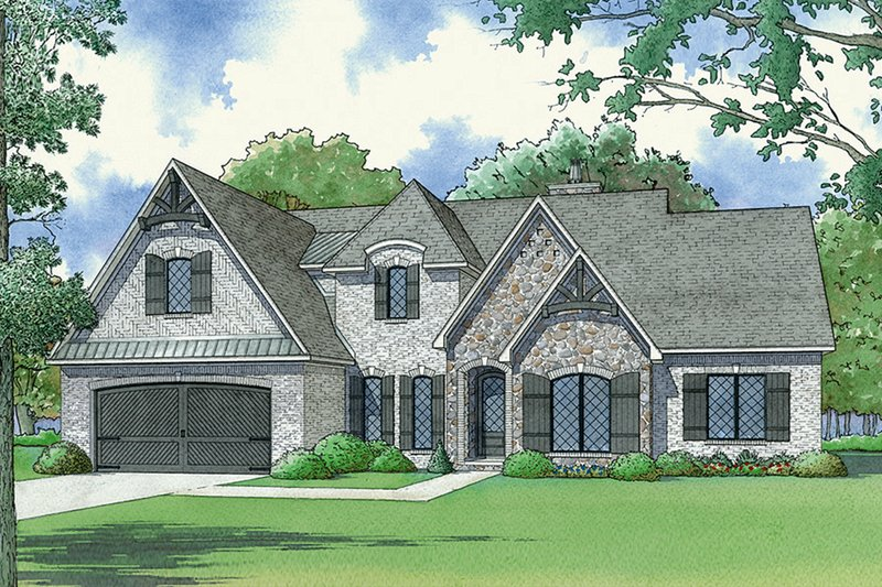 European Style House Plan - 4 Beds 3 Baths 2503 Sq/Ft Plan #17-3415 Exterior - Front Elevation