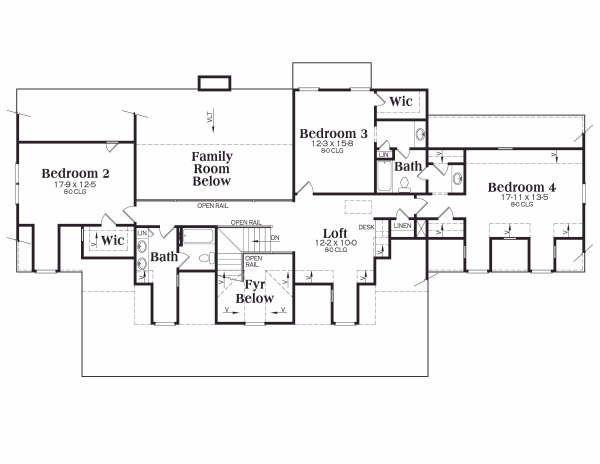 Country Floor Plan - Upper Floor Plan Plan #419-108