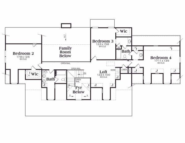 Country Floor Plan - Upper Floor Plan Plan #419-108