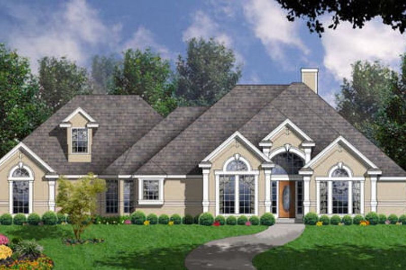 European Exterior - Front Elevation Plan #40-147