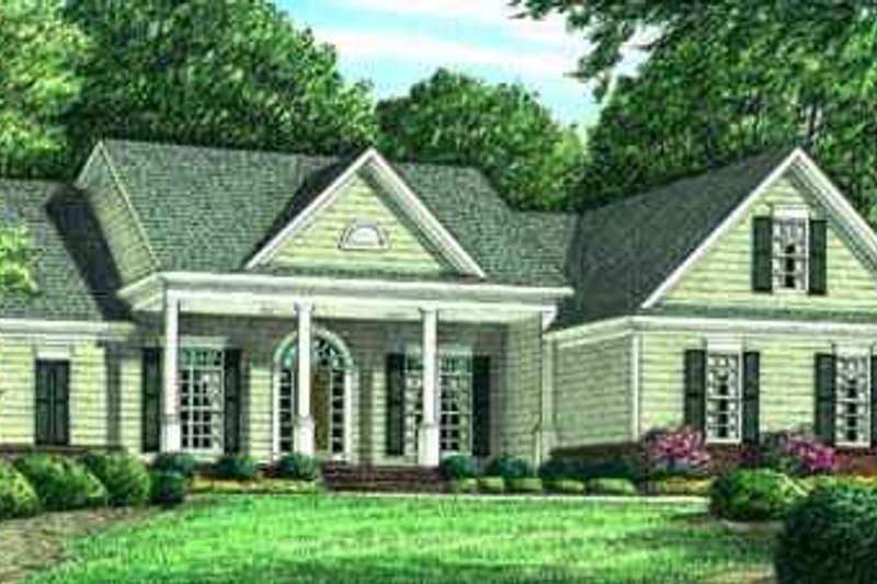 Southern Exterior - Front Elevation Plan #34-159