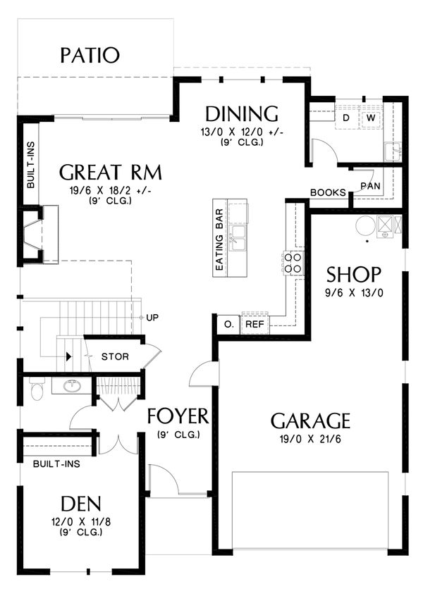 Contemporary Floor Plan - Main Floor Plan Plan #48-676